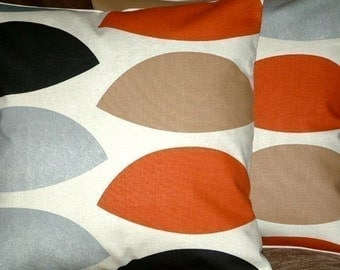 "2 16"" Rust Red Brown Grey Black Print Design Contemporary Designer Pillowcases,Cushion Covers,Pillow Covers,Throw Pillow,NEW FABRIC"