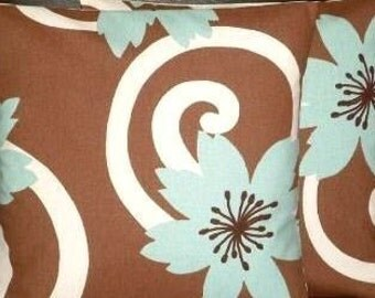 "2 16"" Duck Egg Blue Brown Designer Contemporary Modern Funky Cushion Covers,Pillow Cases,Pillow Covers,Pillow"