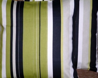 "2 x 16"" Kiwi Green Black Stripe Print Design Funky Contemporary Designer Retro Pillowcases,Pillow Covers,Throw Pillow,NEW FABRIC,40cms"