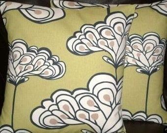 """2 16"""" Contemporary Modern New 16 inch Green  Design Designer Retro Cushion Covers,Pillow Cases,Pillow Covers,Scatter Cushions,Pillow"""
