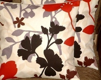 2 New 18 inch Handmade Cotton Modern Contemporary Red Black Brown Designer Retro Funky Cushion Covers, Pillow Cases, Pillow Covers, Pillows