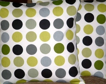 "2 New 16"" Kiwi Green Black Gray Spots Print Designer Retro Pillowcases,Cushion Covers,Pillow Covers,Throw Pillow, Toss Pillow,NEW FABRIC"