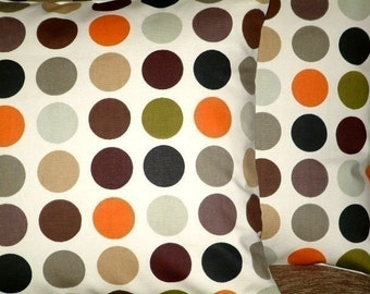 "2 x 16"" Orange Brown Black Green Gray Spots Print Design Funky Retro Pillowcases,Cushion Covers,Pillow Covers,Throw Pillow,NEW FABRIC"