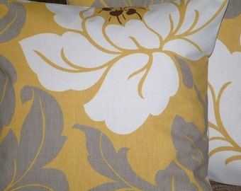 2 18 inch Contemporary Modern Saffron Yellow Flower Design Funky Designer Retro Pillow Cases,Cushion Covers,Pillow Covers,Pillow NEW