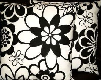 "2 16"" Contemporary Black Floral Designer Retro Funky Cushion Covers, Pillowcases, Pillow Covers,Pillow Slips,Throw Pillow.Pillow"