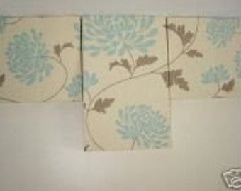 Handmade Set Of 3 Contemporary Modern Designer Retro Print Design Very Funky Duck Egg Blue Flower Wall Hanging Canvases Wall Art.