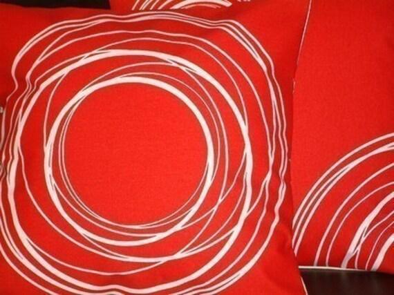 2 New 18 inch Handmade Modern Contemporary Red White Swirl Design Funky Designer Retro Pillow Cases,Cushion Covers,Pillow Covers,Pillow,NEW FABRIC