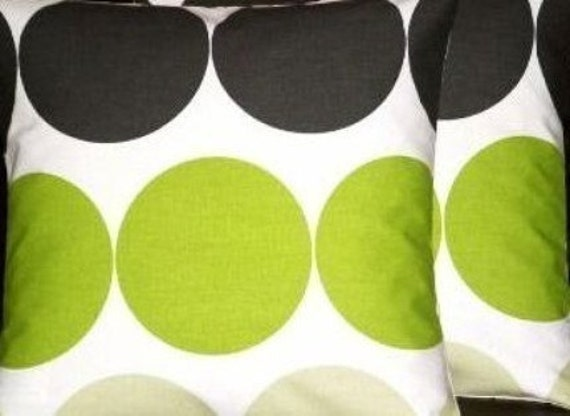 "2 New 18"" Modern Kiwi Green Spots Designer Retro Cushion Covers,Pillowcases, Pillow Covers,Scatter Cushions,Pillow,NEW FABRIC"