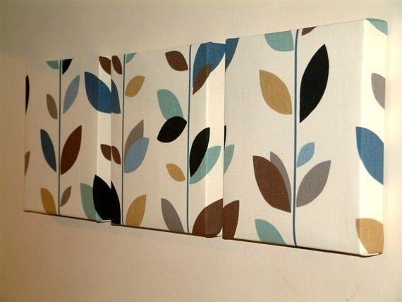Set of 3 contemporary modern print design funky duck egg blue for Modern home decor fabric prints