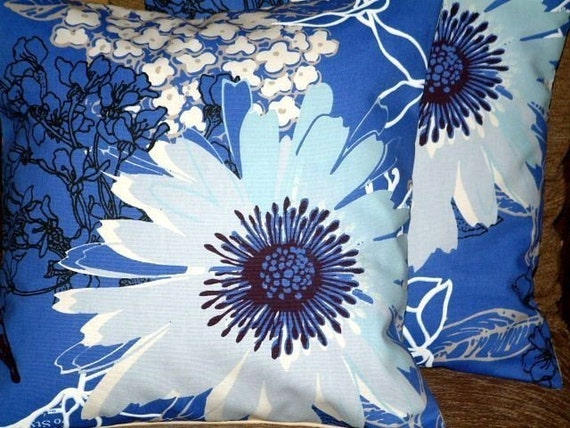 "2 16"" Royal Blue White Black Blue Large Flower Design Contemporary Pillowcases,Cushion Covers,Pillow Covers,Throw Pillow,Decor Pillow"