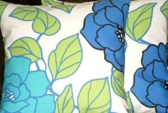"2 16"" Modern Contemporary CornFlower Blue Peony Rose Designer Retro Funky Cushion covers,Pillow cases,Pillow Covers,Pillow"