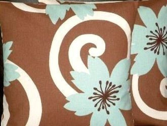 """2 16"""" Duck Egg Blue Brown Designer Contemporary Modern Funky Cushion Covers,Pillow Cases,Pillow Covers,Pillow"""