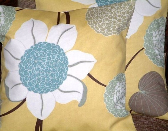 2 16 Inch Duck Egg Blue Saffron Yellow By Mariescosycushions