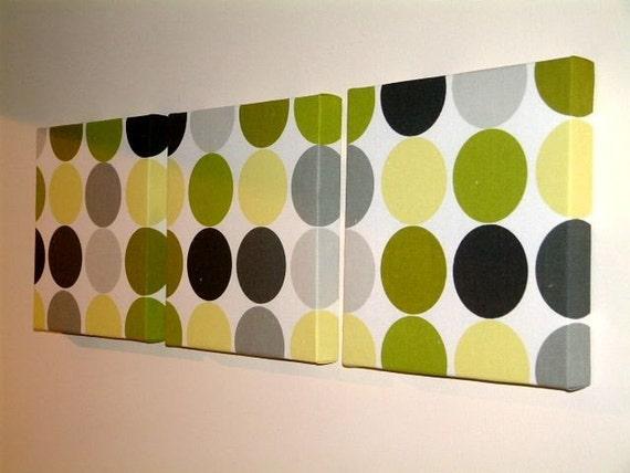 Set Of 3 Contemporary Modern Designer Retro Print Design Kiwi Wall Hanging Canvases Fabric Wall Art Wall Decor,NEW FABRIC