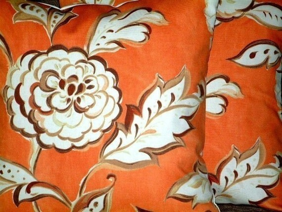 Two New 16 inch Handmade Orange Brown Cream Flower Print Design Funky Contemporary Designer Cushion Covers,Pillow Covers,NEW FABRIC,40cms