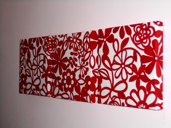 Handmade Set Of 3 Contemporary Modern Designer Retro Print Design Very Funky Red Abstract Flower Wall Hanging Canvases Wall Art.