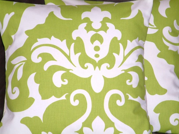 Two New Handmade Modern 16 inch Kiwi Green Damask Design Funky Designer Retro Contemporary Cotton Pillow Cases,Cushion Covers,Pillow