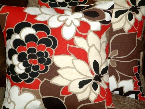 Two 18 inch New Handmade Contemporary Modern Red Brown Black Cream Designer Retro Cushion Covers,Pillow Cases,Pillow Covers,Pillow,NEW FABRIC