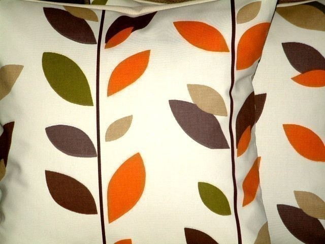 2 16Caramel Orange Sage Green Brown Black Leaf Print
