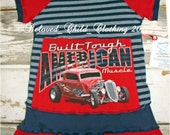Built Tough Ford Muscle Car Upcycled Raglan Twirl Tunic Dress Girls Size 4 5 6 Made In The U.S.A.