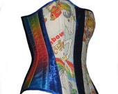 Your Size Rainbow Brite Boned Corset Blue Satin Retro