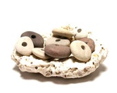 "Beach Stones Sale - Pebbles - focal jewelry donut beads - Lake Rocks - ""Plum Pretty"" by StoneMe"