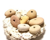 """Drilled Beach Stones - Pebble Stackers - Cairn Beads - Jewelry Rondelles - Supplies - """"Pink Lemonade"""" by StoneMe"""