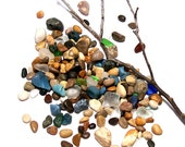"""Sea Splash Tiny Beach Stones - Sea Slag Glass Fossil Undrilled Bag of  Pebbles - Beads for Jewelry or Crafts - """"StoneMe Confetti"""