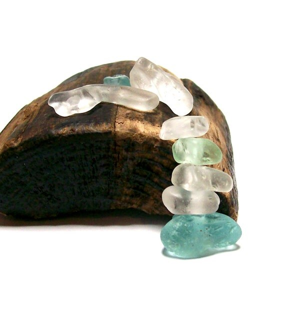 """Drilled Beach Glass - Genuine Sea Glass Wave Faceted Authentic Nuggets - """"Arctic Ice"""" by StoneMe"""