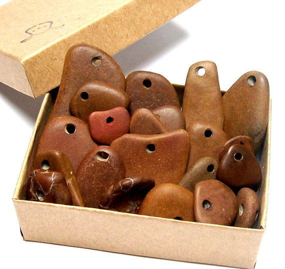 Life Is Like A Box Of Chocolates - Genuine Drilled Beach Stones Set - Pebbles River Rocks Browns by StoneMe
