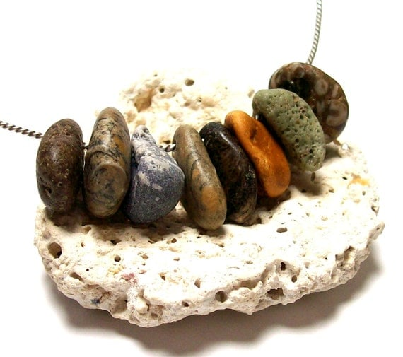 """Sea Glass Beach Stones Pebbles -Jewelry Charms -Drilled Fossils Rocks - """"Rock Salt"""" by StoneMe"""