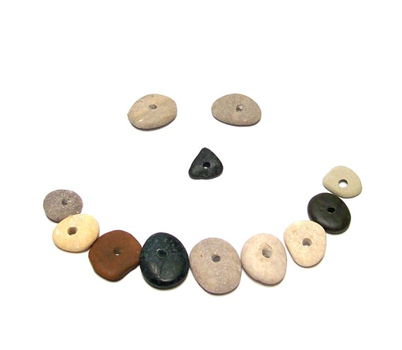 "Drilled Beach Stones Sale - Pebbles - focal jewelry donut beads - River Rocks - ""Nautical Naturals"" by StoneMe"