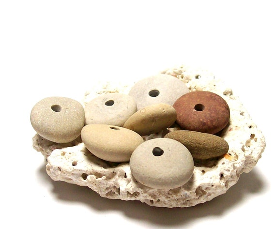 """Drilled Beach Stones Pebbles Lake Rocks - focal jewelry beads - Organic Donuts - """"Cinnamon Stick"""" by StoneMe"""