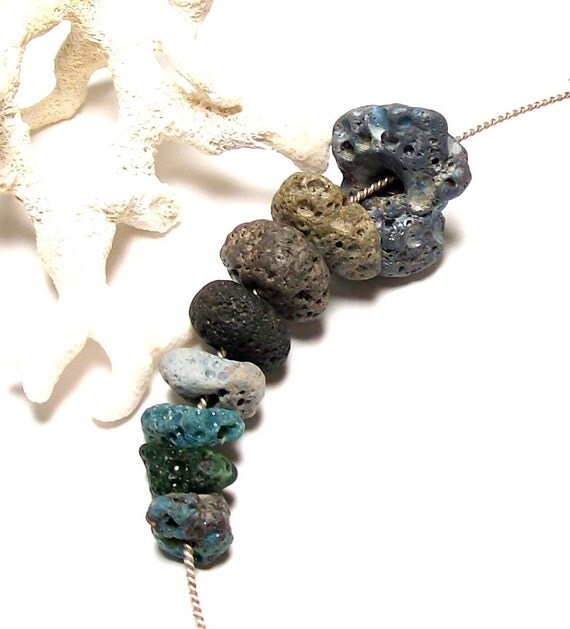 "Beach Stones Drilled Pebbles - Leland Blues Slag Glass & Frankfort Greens - Jewelry Pebbles - ""Sea Sponges"" by StoneMe"