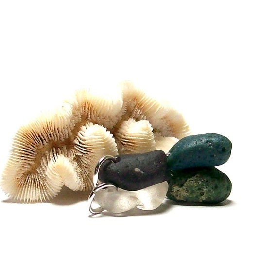 """Sea Slag Glass Beach Stones - Pebbles for Jewelry Artisans - Ready Charms Dangles - """"Morning Glory"""" by StoneMe"""