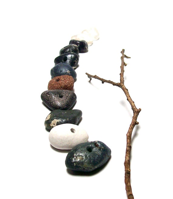 """Stones Pebbles Sea Slag Glass - Focal Jewelry beads - Organic Rondelles -  """"Lilac Festival"""" by StoneMe"""