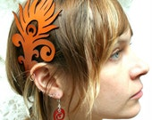 Reserved for Steven: Peacock feather leather headband OOAK pumpkin orange