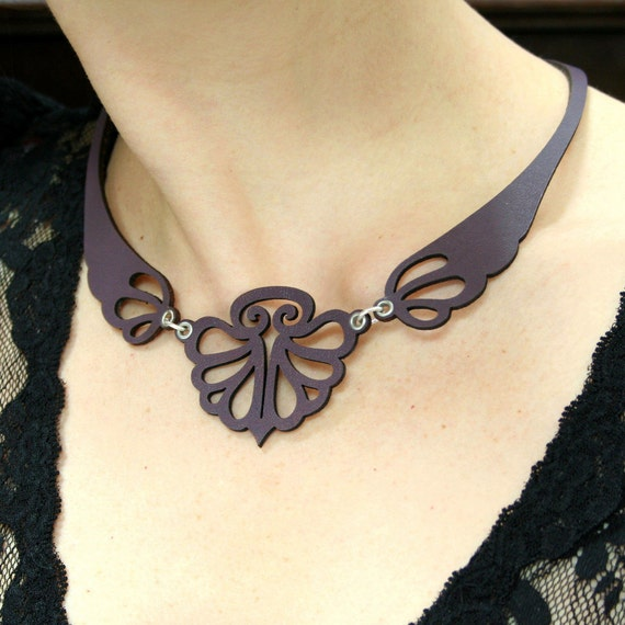 Leather necklace - Laser cut BUTTTERFLY design in purple