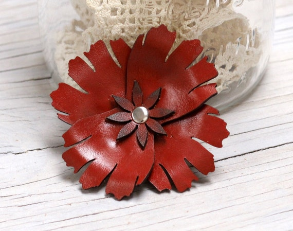 Leather Poppy Flower Clip in Rustic Red