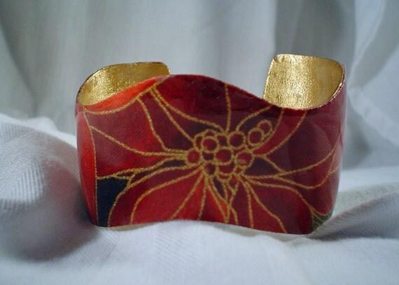 Dark Red Wavy Cuff Bracelet, Jewelry, Accessories, Resin (CCB97)