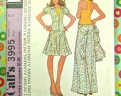 Vintage 1970s Womens Blouse with Cut-In Back, Flared Skirt, Jacket, and wide Leg Pants Pattern - McCalls 3995