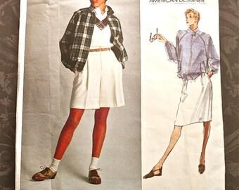 1990s Ralph Lauren Women's Jacket Pattern with Shorts and Skirt -Vogue 2456