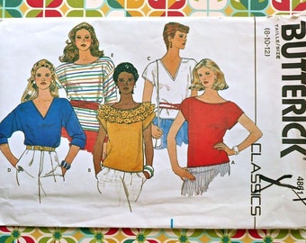 Vintage 1970's Women's Set of Pullover Blouses Pattern - Butterick 4861