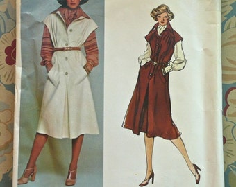 Vintage 1970s Galitzine Women's Dress Pattern with  Blouse and Scarf - Vogue 1307