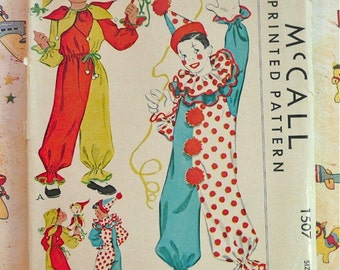 Vintage 1940s Childrens Costume Pattern for Clown or Jester - McCall 1507