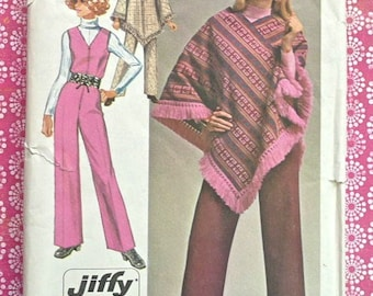 Vintage 1970s Womens Jumpsuit Pattern with Poncho - Simplicity 9066