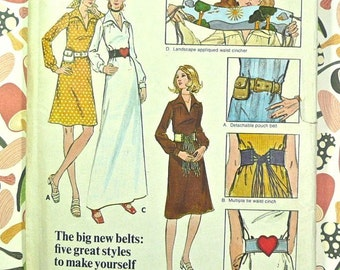 Butterick 6210 - Vintage 1970s Womens Smock Dress Pattern with Five Wide Novelty Belts