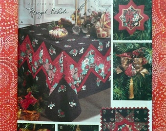 Patchwork Christmas Pattern with Ornaments, Stocking, Tree Skirt, Wall Hanging, and Tablecloth - Butterick 6379