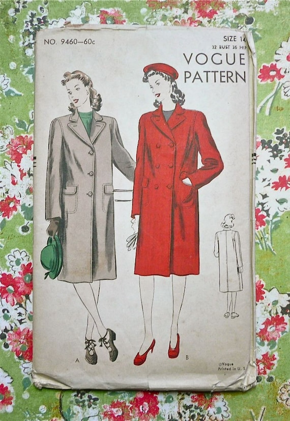 Vogue 9460 - Vintage 1940s Womens Coat Pattern  - Single or Double Breasted