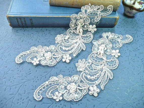 Vintage Pair of White Floral Lace Appliques with Pearl Beads and Sequins